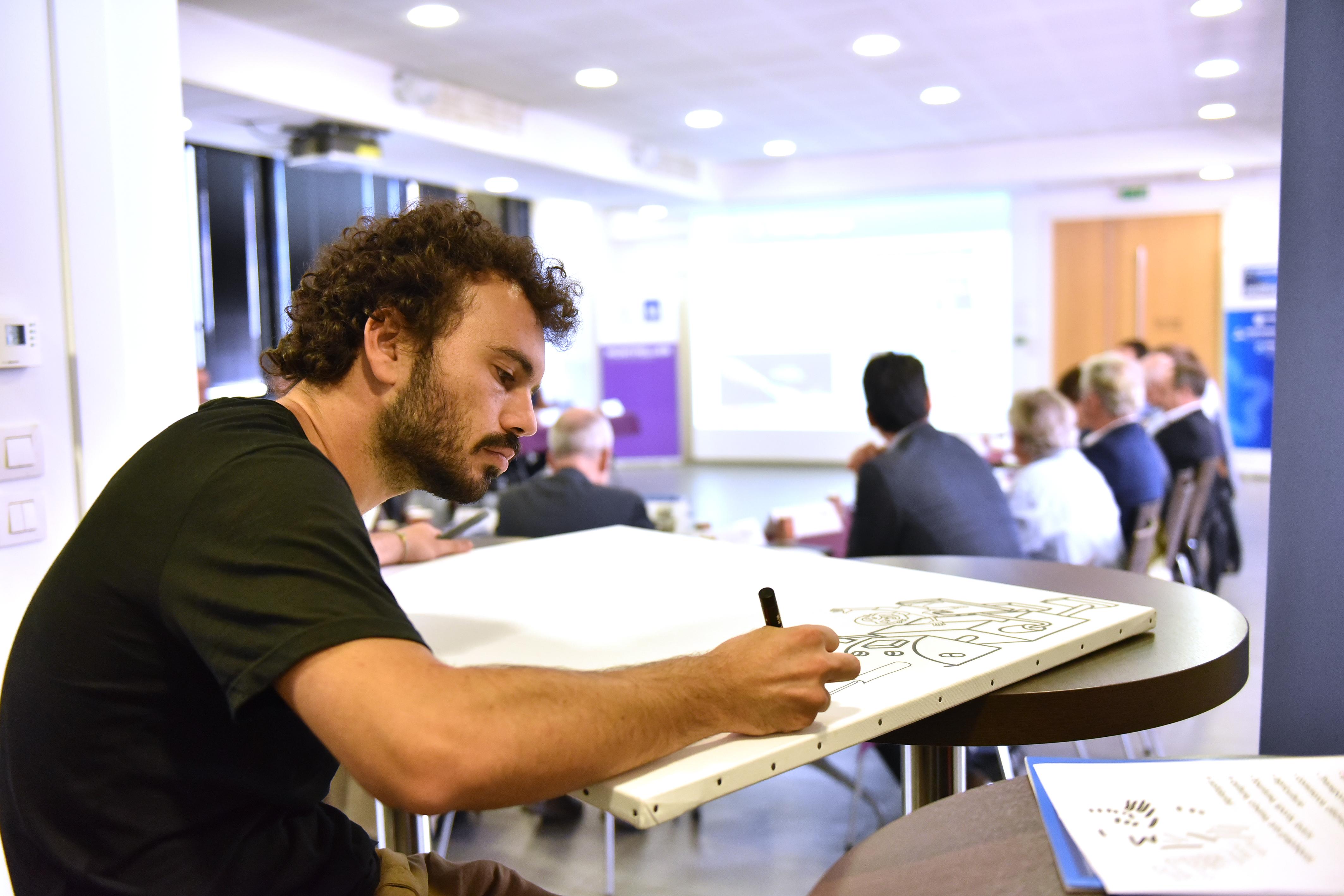 Lors du lancement du premier Conseil métropolitain de l'industrie postiive, nous avons fait appel à une dessinateur pour illustrer les échanges