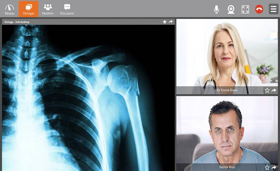 Interface visioconférence médicale TixeoCare