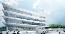 Vue d'architecte du futur bâtiment Atrium de l'Université Paul-Valéry @université paul valery
